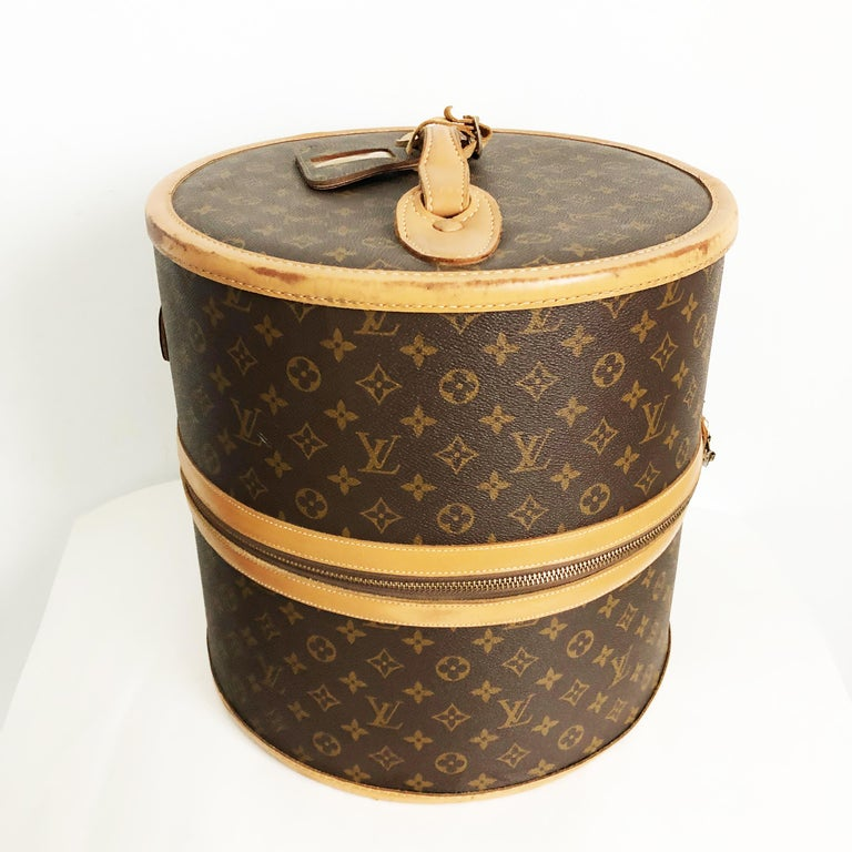 Brown Louis Vuitton French Company Monogram Round Hat Box Wig Case Travel Bag 1970s For Sale