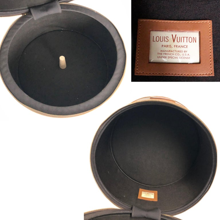 Louis Vuitton French Company Monogram Round Hat Box Wig Case Travel Bag 1970s For Sale 1