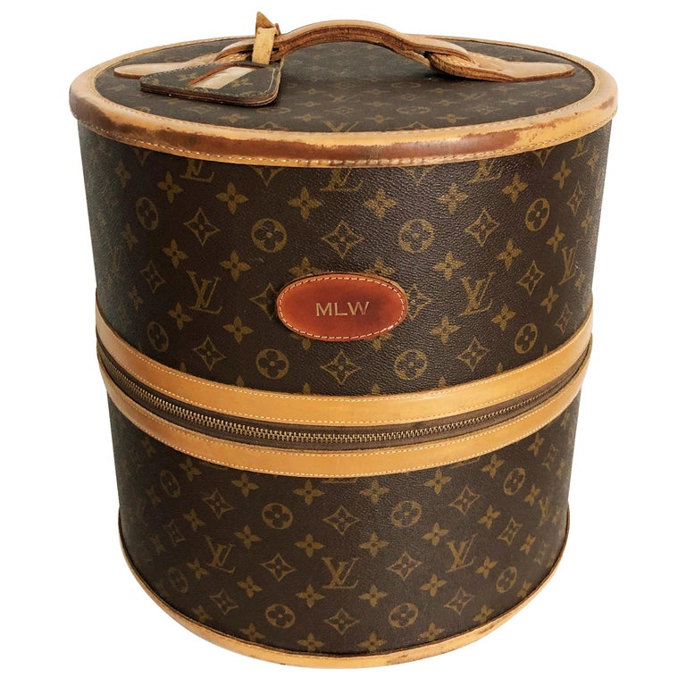 Louis Vuitton French Company Monogram Round Hat Box Wig Case Travel Bag 1970s For Sale