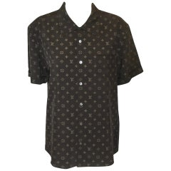 Louis Vuitton Front Button Short Sleeve Brown & Beige Monogram Shirt Women/Men
