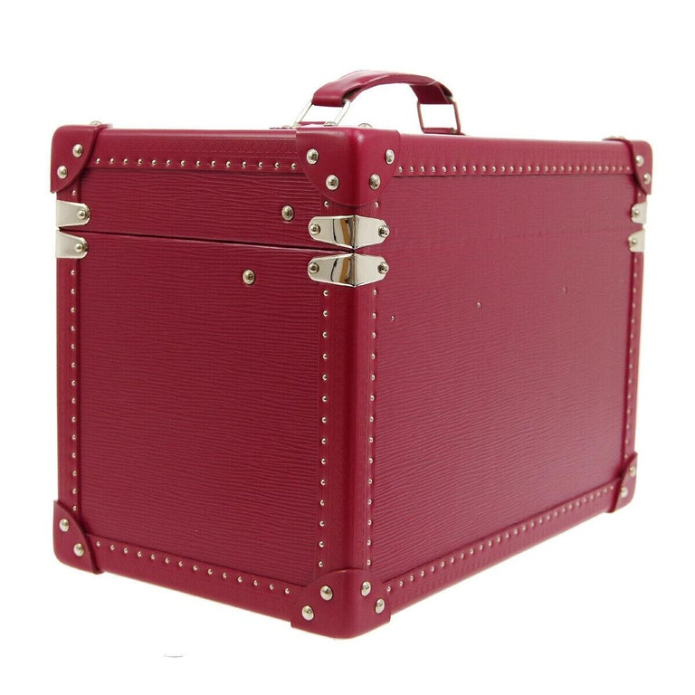 Louis Vuitton Limited Edition Fuchsia Pink Leather Travel Vanity Top Handle Storage Box Trunk  Leather Silver tone hardware Flip lock closure Velvet lining Date code present Made in France Handle drop 1.5