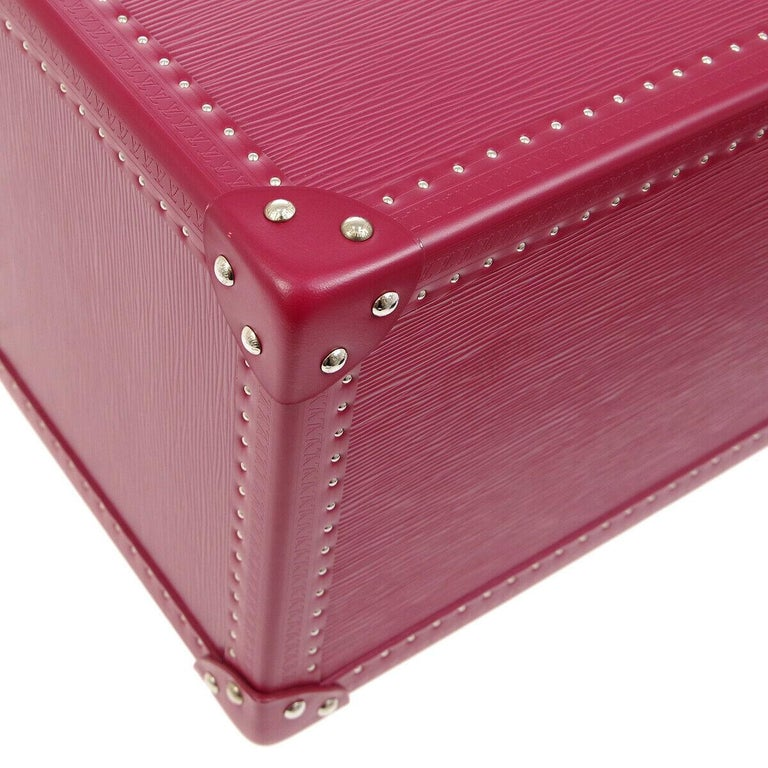 Women's Louis Vuitton Fuchsia Pink Leather Travel Vanity Top Handle Storage Box Trunk For Sale