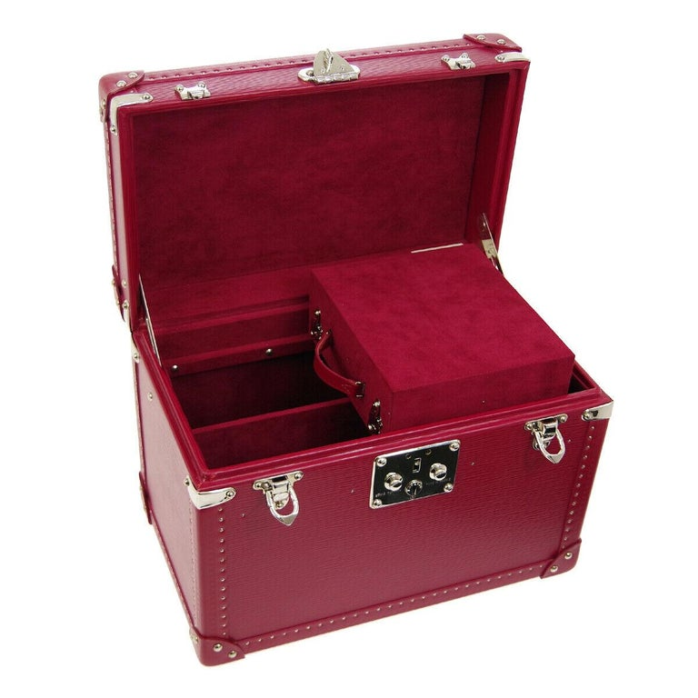 Louis Vuitton Fuchsia Pink Leather Travel Vanity Top Handle Storage Box Trunk For Sale 1