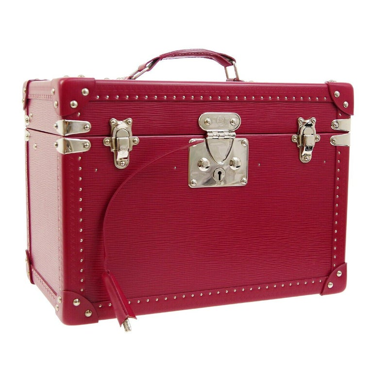 Louis Vuitton Fuchsia Pink Leather Travel Vanity Top Handle Storage Box Trunk For Sale