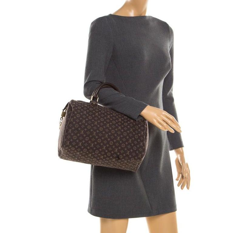 Black Louis Vuitton Fusain Monogram Canvas Mini Lin Speedy 30 Bag