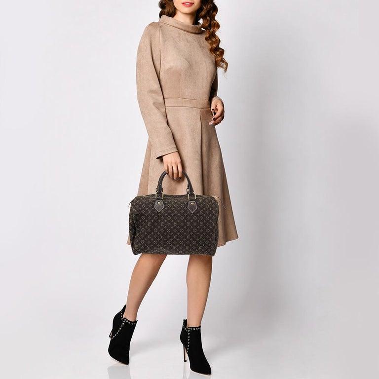 Black Louis Vuitton Fusain Monogram Canvas Mini Lin Speedy 30 Bag For Sale