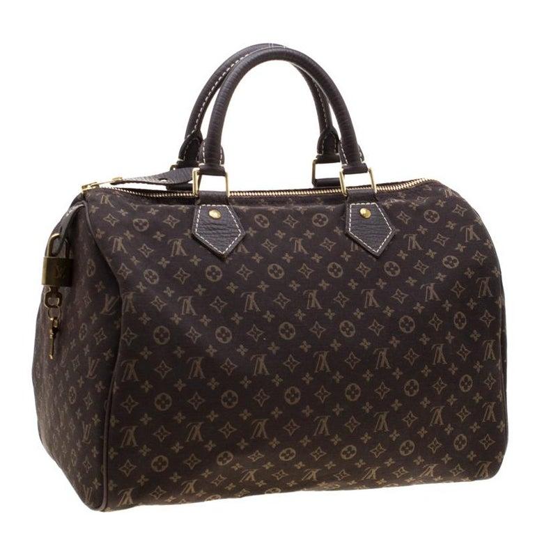 Louis Vuitton Fusain Monogram Canvas Mini Lin Speedy 30 Bag In Excellent Condition In Dubai, Al Qouz 2