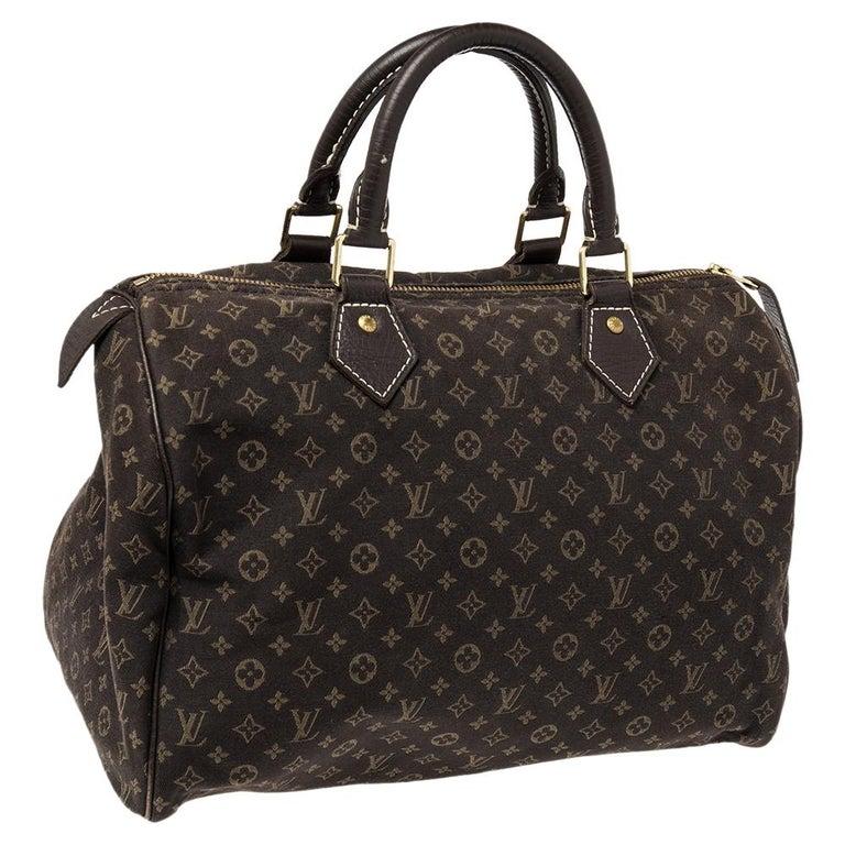 Louis Vuitton Fusain Monogram Canvas Mini Lin Speedy 30 Bag In Good Condition For Sale In Dubai, Al Qouz 2