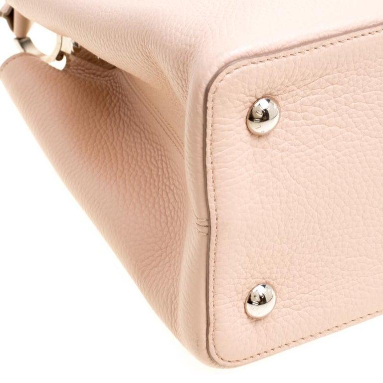 Louis Vuitton Galet Taurillon Leather Capucines MM Bag For Sale 6