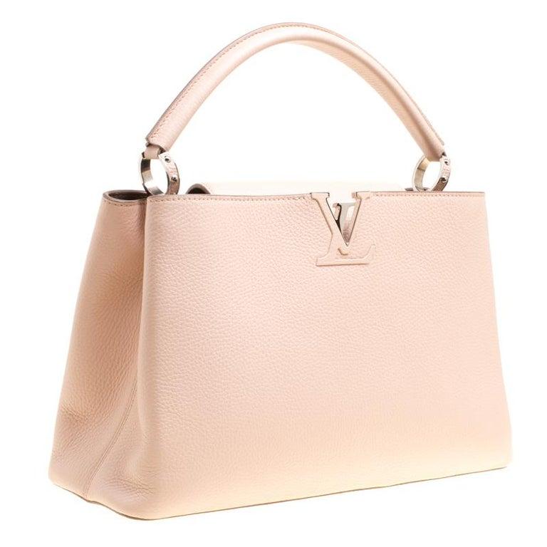 Beige Louis Vuitton Galet Taurillon Leather Capucines MM Bag For Sale