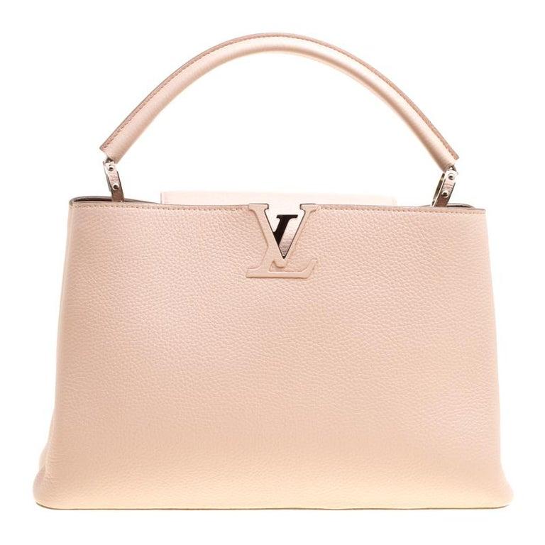 Louis Vuitton Galet Taurillon Leather Capucines MM Bag For Sale