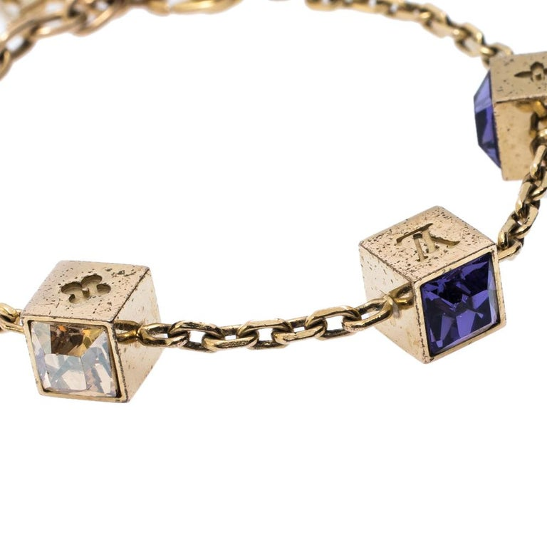 Contemporary Louis Vuitton Gamble Crystal Gold Tone Bracelet For Sale