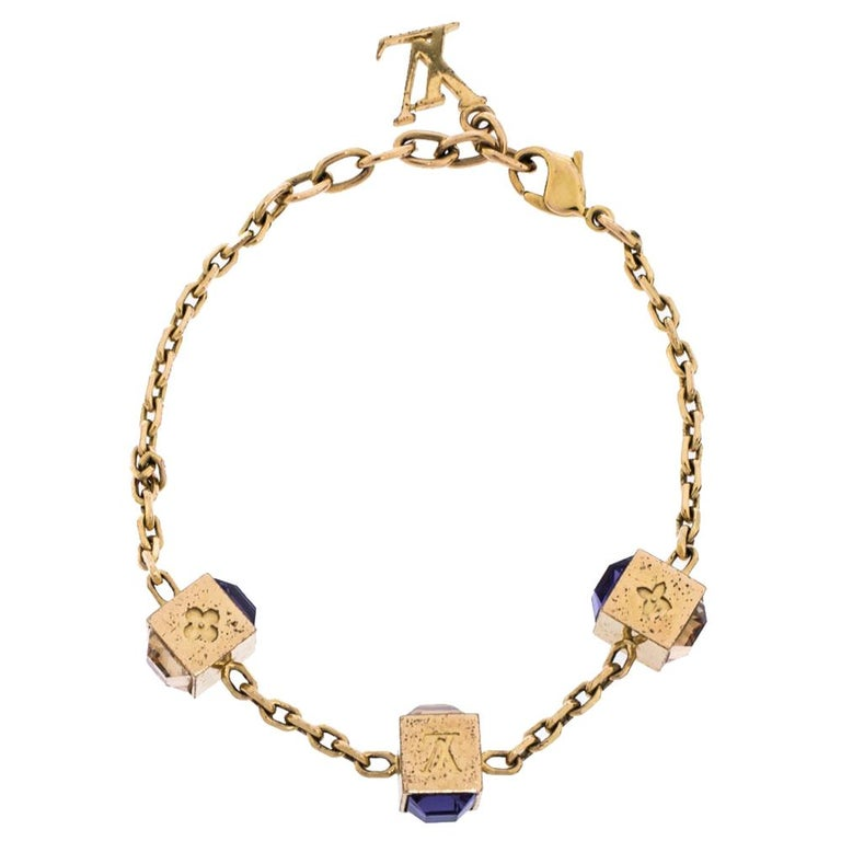 Louis Vuitton Gamble Crystal Gold Tone Bracelet For Sale