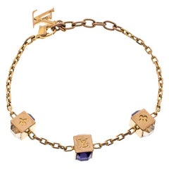 Louis Vuitton Gamble Crystal Gold Tone Bracelet