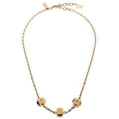 Louis Vuitton Gamble Crystal Gold Tone Necklace