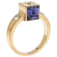 Louis Vuitton Gamble Crystal Gold Tone Ring 53