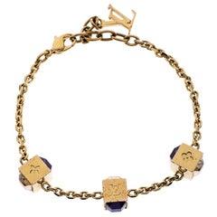 Louis Vuitton Gamble Crystal Gold Tone Station Bracelet