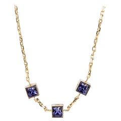 Louis Vuitton Gamble Crystal Gold Tone Station Necklace