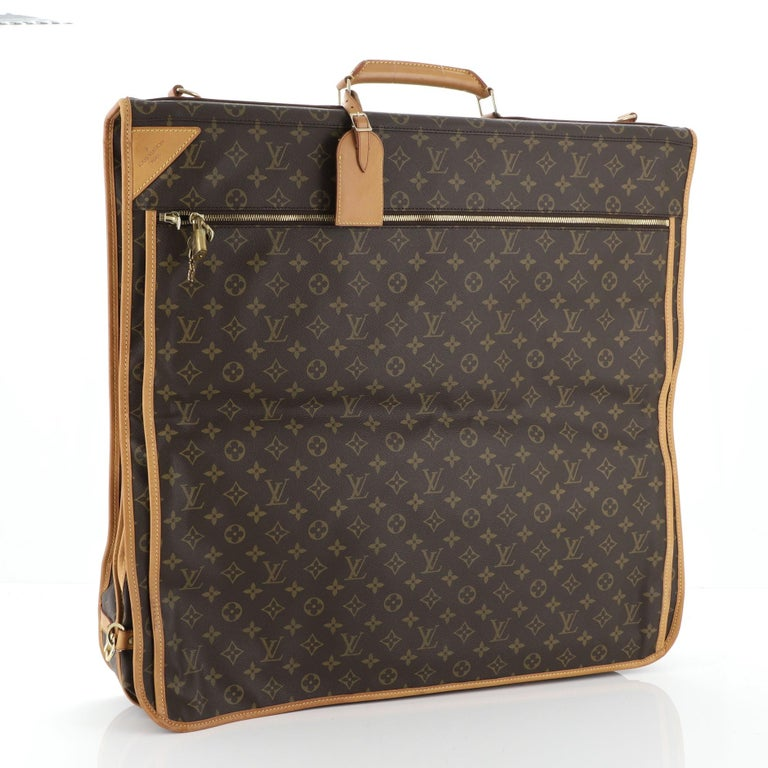 Louis Vuitton Garment Carrier Bag Monogram Canvas Two Hangers In Good Condition For Sale In New York, NY