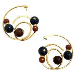 LOUIS VUITTON Gold And Pearl Hoops Earrings