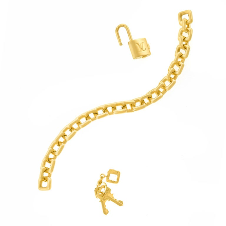 Louis Vuitton Gold Charm Bracelet with Lock and Keys For Sale 3