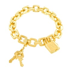 Louis Vuitton Gold Charm Bracelet with Lock and Keys