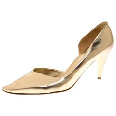 Louis Vuitton Gold Leather D' Orsay Pointed Toe Pumps Size 39.5