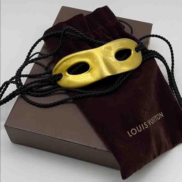 Louis Vuitton Gold Metal Mask Hat Head Band  For Sale 3