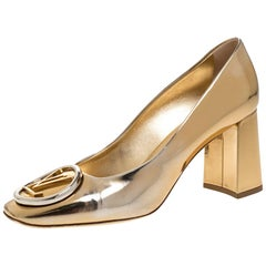 Louis Vuitton Gold Metallic Foil Leather Madeleine Square Toe Pumps Size 37.5