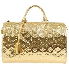 Louis Vuitton Gold Monogram Shiny Mirror Speedy 30 Top Handle Shoulder Bag