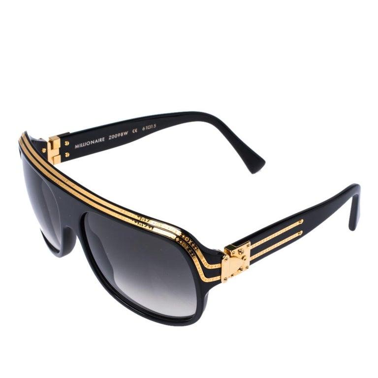 Louis Vuitton Gold Plated/ Grey Gradient Z0098W Millionaire Sunglasses In Good Condition For Sale In Dubai, Al Qouz 2