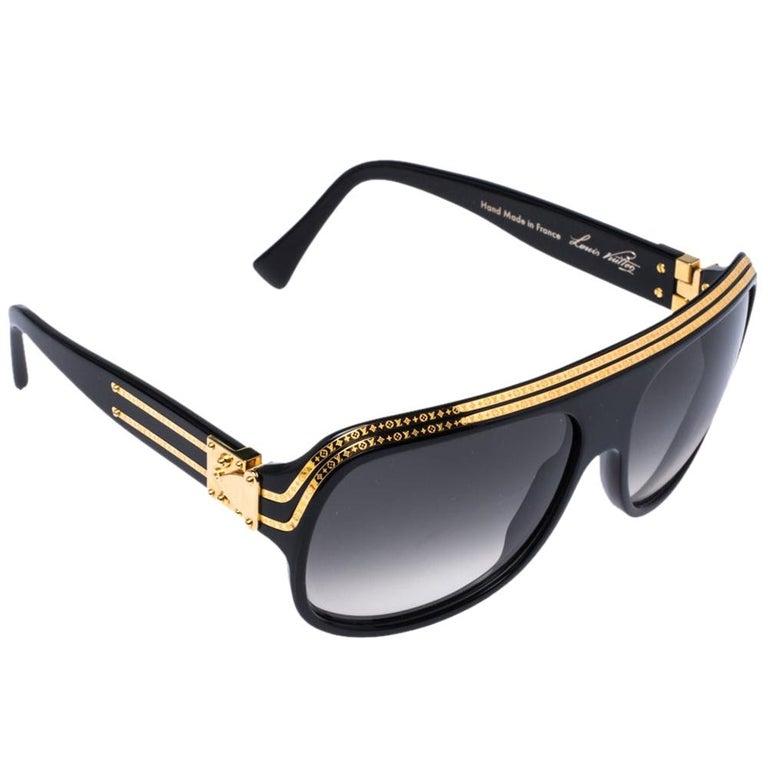 Louis Vuitton Gold Plated/ Grey Gradient Z0098W Millionaire Sunglasses For Sale