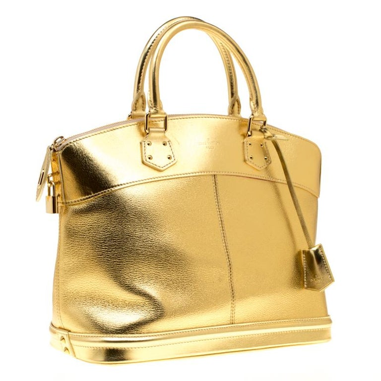 Louis Vuitton Gold Suhali Leather Lockit MM Bag For Sale 2