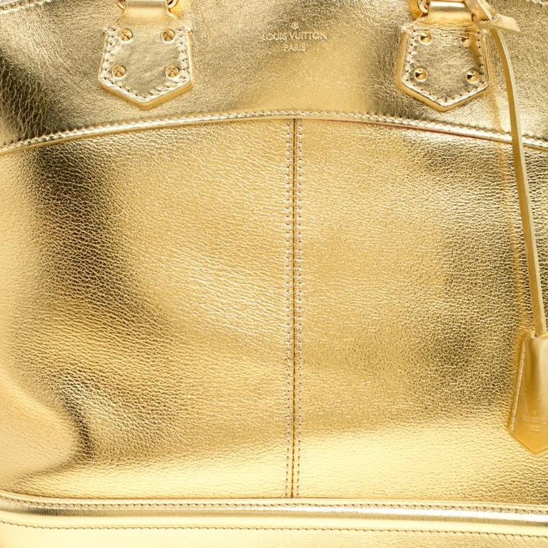 Louis Vuitton Gold Suhali Leather Lockit MM Bag For Sale 3