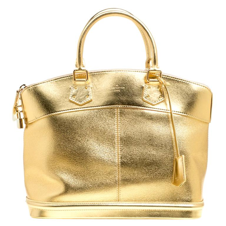 Louis Vuitton Gold Suhali Leather Lockit MM Bag For Sale