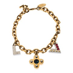 Louis Vuitton Gold Tone Crystal Embedded Charm Bracelet