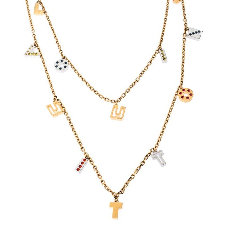 Contemporary Louis Vuitton Gold Tone Love Letters Timeless Layered Necklace For Sale