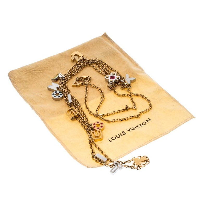 Louis Vuitton Gold Tone Love Letters Timeless Layered Necklace In Good Condition For Sale In Dubai, Al Qouz 2