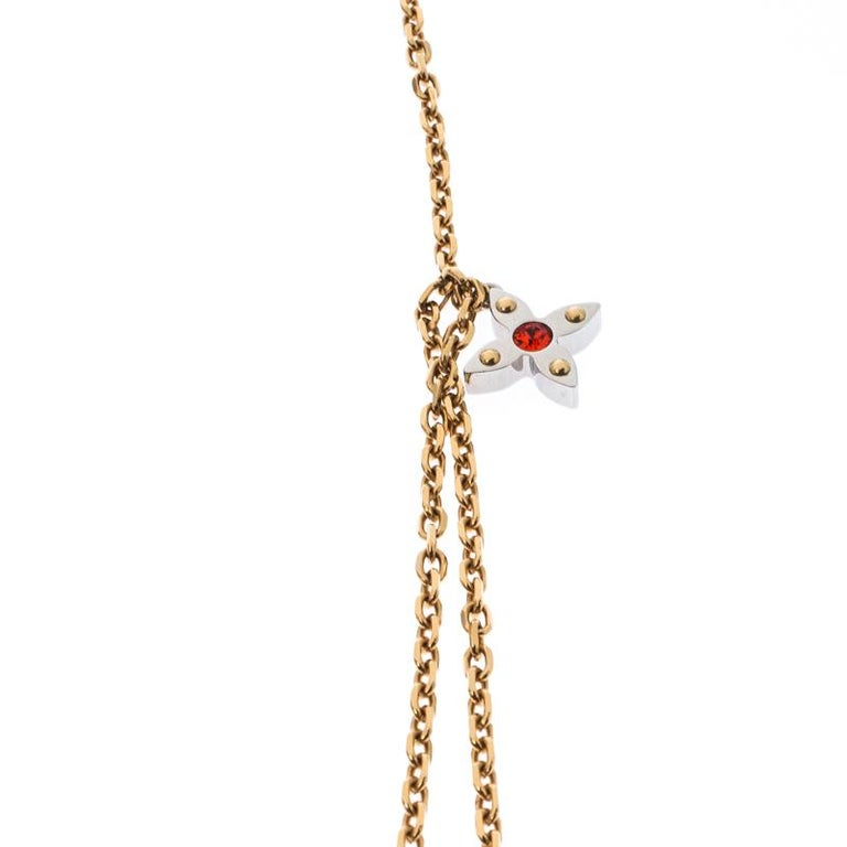 Louis Vuitton Gold Tone Love Letters Timeless Layered Necklace For Sale 3