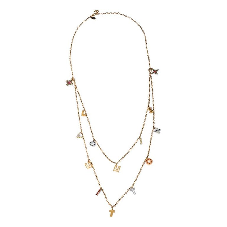 Louis Vuitton Gold Tone Love Letters Timeless Layered Necklace For Sale