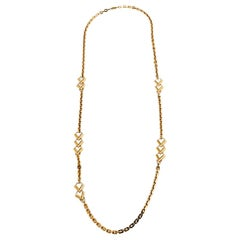 Louis Vuitton Gold Tone V Chain Sautoir Necklace
