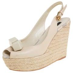 Louis Vuitton Gossip Cube Espadrille Wedge Peep Toe Slingback Sandals Size 37.5