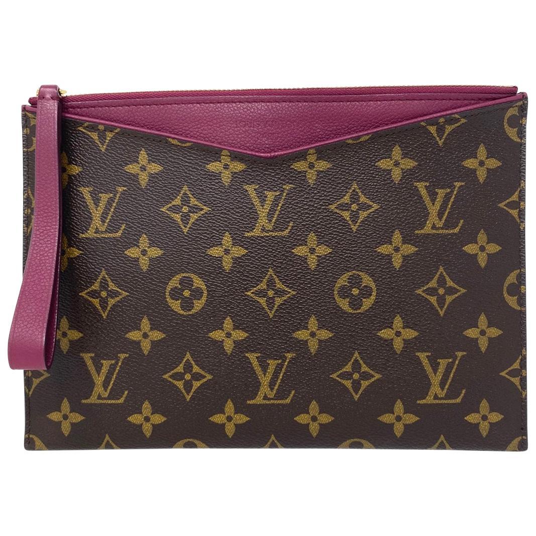 Louis Vuitton Grape Pochette Pallas Monogram Leather Canvas Clutch
