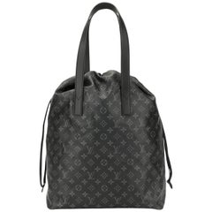 Louis Vuitton Gray Black Mono Men's Travel Carryall Travel Duffle Top Handle Bag