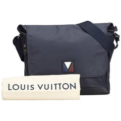 Louis Vuitton Gray Charcoal Leather V Line Messenger Bag France w/ Dust Bag