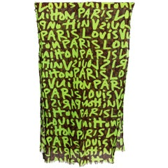 LOUIS VUITTON green brown Monogram STEPHEN SPROUSE cotton Shawl Scarf