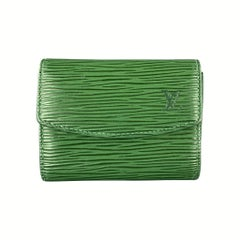 LOUIS VUITTON Green Epi Leather Coin Purse Card Holder Wallet