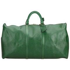 Louis Vuitton Green Epi Leather Leather Epi Keepall 60 France