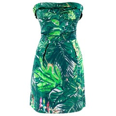 Louis Vuitton Green Floral Satin Bustier Dress S