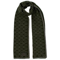Louis Vuitton Green / Grey Fleur De Monogram Cashmere Scarf
